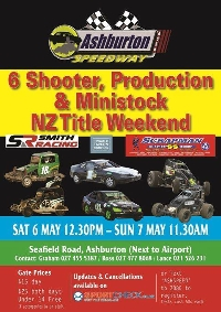 6 Shooter, Production & Ministock NZ Title Weekend Night 2 - Ashburton Logo