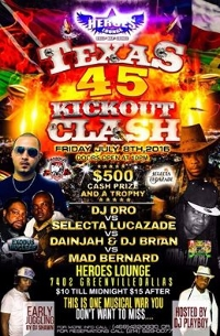 TEXAS 45 KICKOUT CLASH IN DALLAS TEXAS Logo